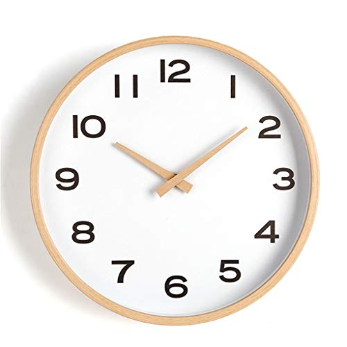 ZQQBRZXFT Cuarzo de Pared Silencioso Reloj De Madera Reloj Redondo Sala De Estar Dormitorio Silencioso Reloj De Pared Puntero De Madera Barrido Movimiento,40.8 Cm De DiáMetro