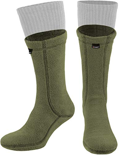281Z Military Warm 8 inch Boot Liner Socks - Outdoor Tactical Hiking Sport - Polartec Fleece Winter Socks (Large, Green Khaki)