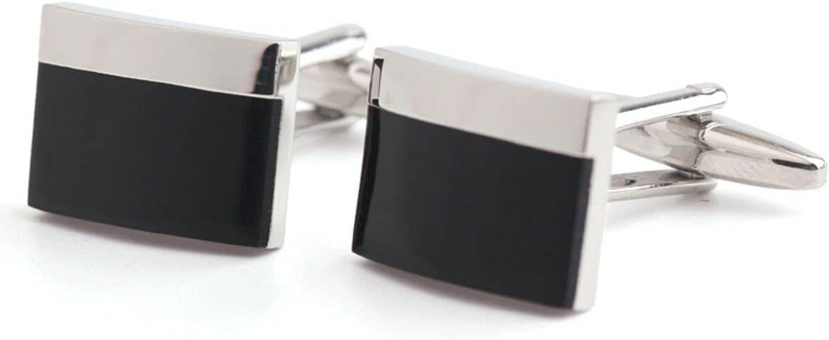 BO LAI DE Men's Cufflinks Rectangular Black Epoxy Cufflinks Shirt Cufflinks Suitable for Business Events, Meetings, Dances, and A Gift Box