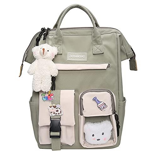 ISAKEN Zaino scuola per ragazzi e ragazze, con zainetto da viaggio da donna con orsetto carino, Verde