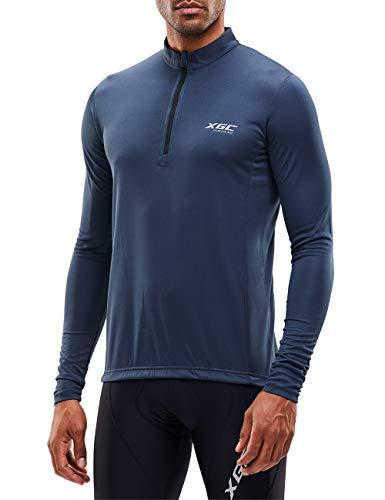 XGC Herren Kurzarm/Langarm Radtrikot Fahrradtrikot Radshirt Fahrradshirts Fahrradbekleidung für Männer mit Elastische Atmungsaktive Schnell Trocknen Stoff (039 Grey, L)