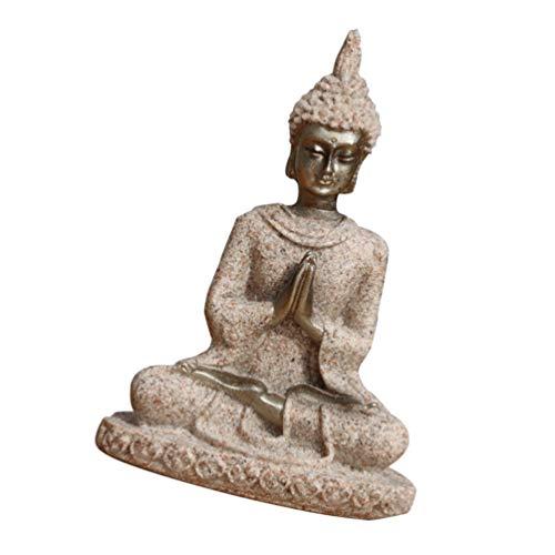 Yardwe Meditieren Segen Buddha Statue Buddhismus Buddha Maitreya Fengshui Statue Skulptur Harz Sitzende Buddha Segen Figurine Tabletop Dekoration Ornament für Hause 2Pcs