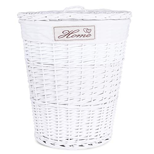 Oval White Wicker Laundry Basket Home Lable Cotton Lining With Lid