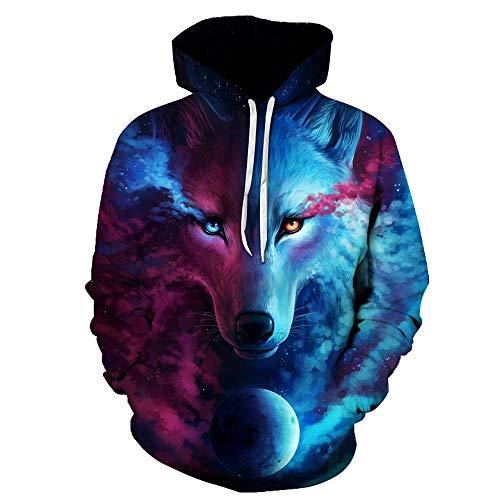 Unisex Novelty Hoodies Lion,Leopard, Big Eyes 3D Print Casual Long Sleeve Sweatshirt Pockets Pullover for Herren Damen 050 XXXXL