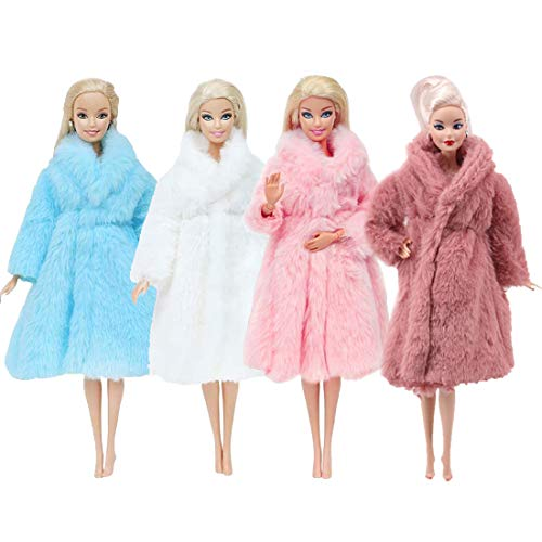 4 PCS Multicolor Langarm weicher Pelzmantel für 11,5 Zoll Flanell Outfit Tops Kleid Winter warmes Zubehör Kleidung Freizeitkleidung für Barbie Doll