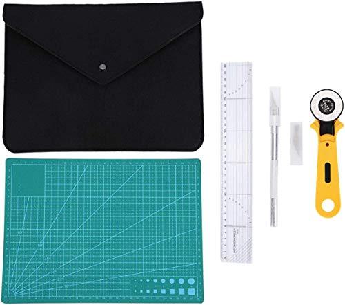 レザークラフト 裁縫道具キット クラフトツールセット 切断ツールキット 収納袋・定規・カッティングマット・ロータリーカッター・カービングナイフ 手作り
