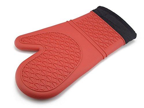 iNeibo Kitchen guanti da cucina/guanti da forno/guanti barbecue in silicone ultra spessi e resistenti con una morbida imbottitura all'interno, approvati dalla FDA- resistenti al calore fino a 230°C, multi-uso, taglia unica, confezione composta da 1 GUANTO (Rosso)