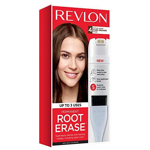 Revlon Root Erase Permanent Hair Color, Root Touchup Hair Dye, 100% Gray Coverage, 4 Dark Brown, 3.2 oz