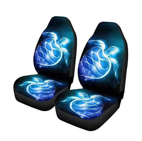 GePrint Blue Neon Sea Turtle Print Universal Fit Car Seat Covers Automotive Interior Protector Accessiores,Front Bucket Seat Cover Full Set of 2,fit Most Car SUV Van Truck