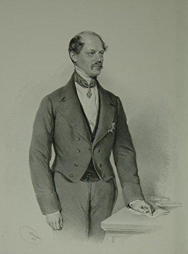 Porträt Portrait: Dreiviertelfigur im Anzug nach viertelrechts, stehend, die linke Hand auf einem Stiftstück einer Kommode. Lithographie von Joseph Kriehuber.