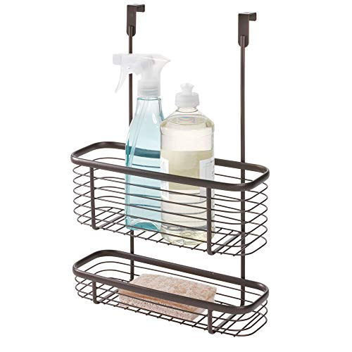iDesign Axis Over the Cabinet 2-Tier Kitchen Storage Basket Organizer for Aluminum Foil, Sandwich Bags, Cleaning Supplies, Garbage Bags, Bath Supplies, 4