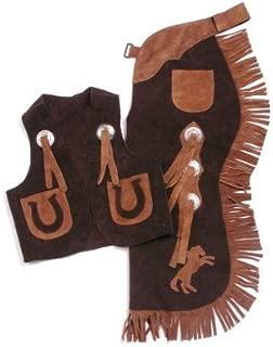 Kids Chap/Vest Set Horseshoes Brown Medium