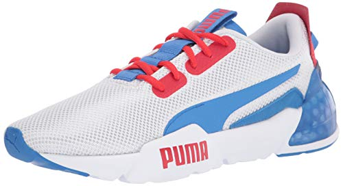 PUMA Men's Cell Phase Sneaker, White-High Risk Red-Palace Blue, 8.5 M US