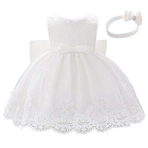 Lito Angels Robe Demoiselle d'honneur avec Bandeau pour Bebe Fille, Robe en Dentelle pour Ceremonie Mariage Bapteme, Taille 6-12 Mois, Blanc