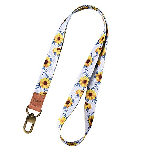 Supgear Sunflower Lanyard with ID Holder, Neck Strap for Women and Girls Wristlet Keychain Premium Printed Keychain Lanyard for Key, Mobile Phone, Card Holders and ID Badges