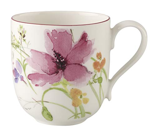 Villeroy & Boch - Mariefleur Basic Latte Macchiato-Becher, schöner Kaffee-Becher mit verspieltem Blumendekor aus Premium Porzellan, 480 ml
