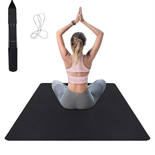 Esterilla de yoga color negro y gris, antideslizante, con textura doble cara, correa transporte bolsa, esterilla respetuosa el medio ambiente TPE, para pilates, 183 x 122 0,6 cm