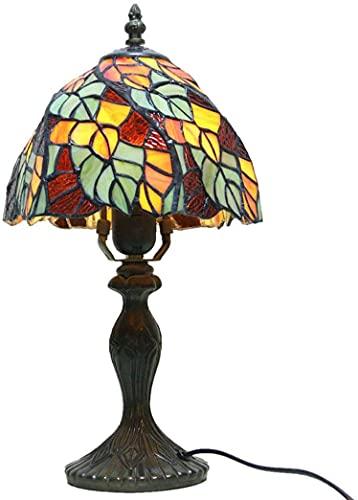 TOPNIU Tiffany Style Mini lámpara de Mesa Mini lámpara de Mesa E27 Cama de Noche pequeña luz de Noche Lámpara de Escritorio Multicolor Hecho a Mano
