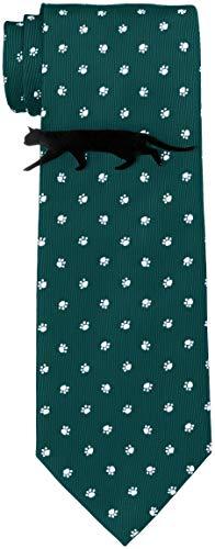 [ドレスコード101] 猫好きさん必見 ネコのネクタイとネコのタイピンの2点セット ボックス付 プレゼント ギフト メンズ おもしろ 洗える ネクタイ 可愛い ネクタイピンおしゃれ 猫 ねこ 通勤 ビジネス ネクタイ&タイピンセット にくきゅう×グリーン