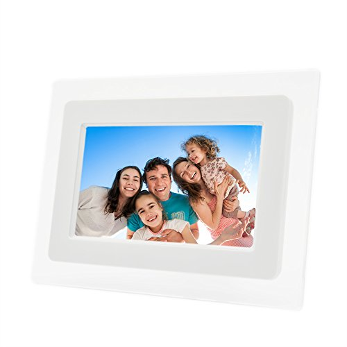 7 Inch TFT LCD Screen Digital Photos Display Frame with Calendar Support Tf Sd /Sdhc /Usb Flash Drives(white)- Support 32GB SD Card-【Upgrade Version】