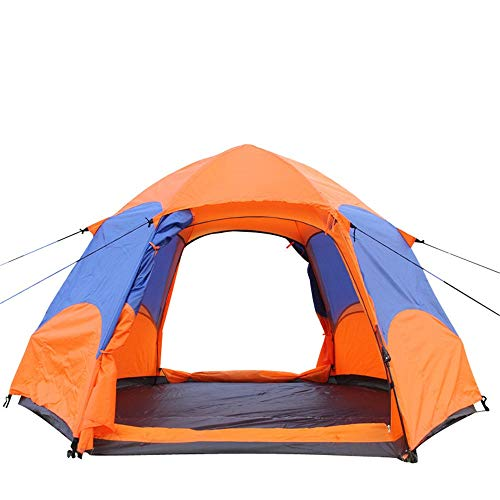 ZoSiP Outdoor Camp Folding Tent Outdoor Camping Hexagonal Tent Double Door Double-layer Automatic Speed-opening Manual Construction to Prevent Storms (Color : 8206-2, Size : 240x240x135cm)