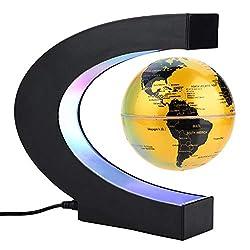 Magnetisch schwebender Globus, drehbare Weltkarte mit LED-Lichtern, Erdkugel für Schreibtischdekoration, Weihnachts- und Geburtstagsgeschenk (UK-Stecker, blau) C Typ gelb