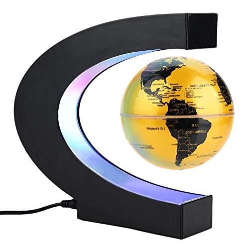 Forma C de Globo Flotante de levitación magnética rotación del mapa del mundo con luces LED Tierra Globo Para Decoración de Escritorio Regalo de Cumpleaños de Navidad(Oro)