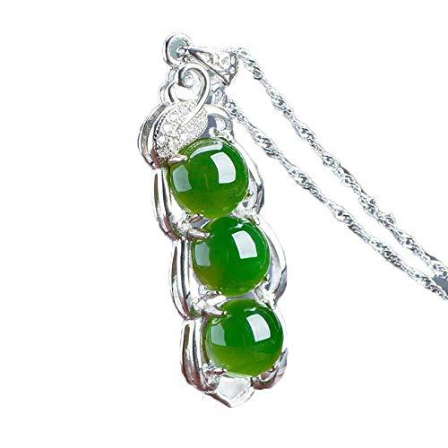 ZHIBO Hetian Yubiyu - Collar con Colgante (Plata de Ley 925), Color Verde