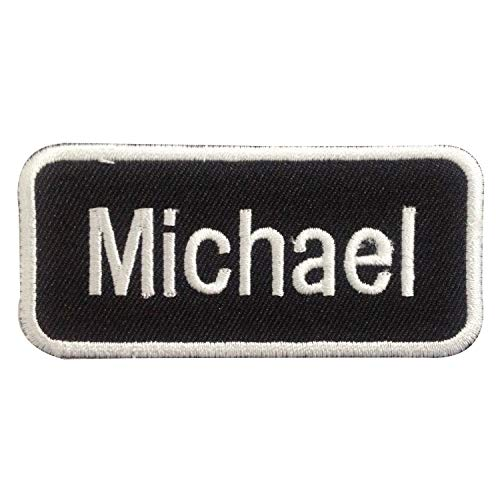 Michael Name Tag Applique Identification Uniform Sew on or Iron on Patches Embroidered Applique Craft Accessory for decorate your Clothes Jeans Tshirt Jacket Pant Bag Backpack Hat for Men Women Boys