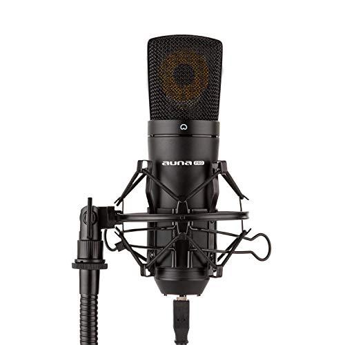 auna MIC-920B - USB Kondensator-Mikrofon, Nierencharakteristik, Metallgehäuse, Frequenzbereich: 30 Hz - 18 kHz, 22 mm Elektret-Mikrofonkapsel, Plug & Play, Mikrofonspinne, schwarz
