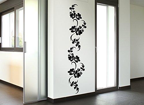 Grandora Wandtattoo Hibiskus Blumenranke Amelie I weiß (BxH) 20 x 100 cm I Wohnzimmer Schlafzimmer Sticker Aufkleber Wandaufkleber Wandsticker W989