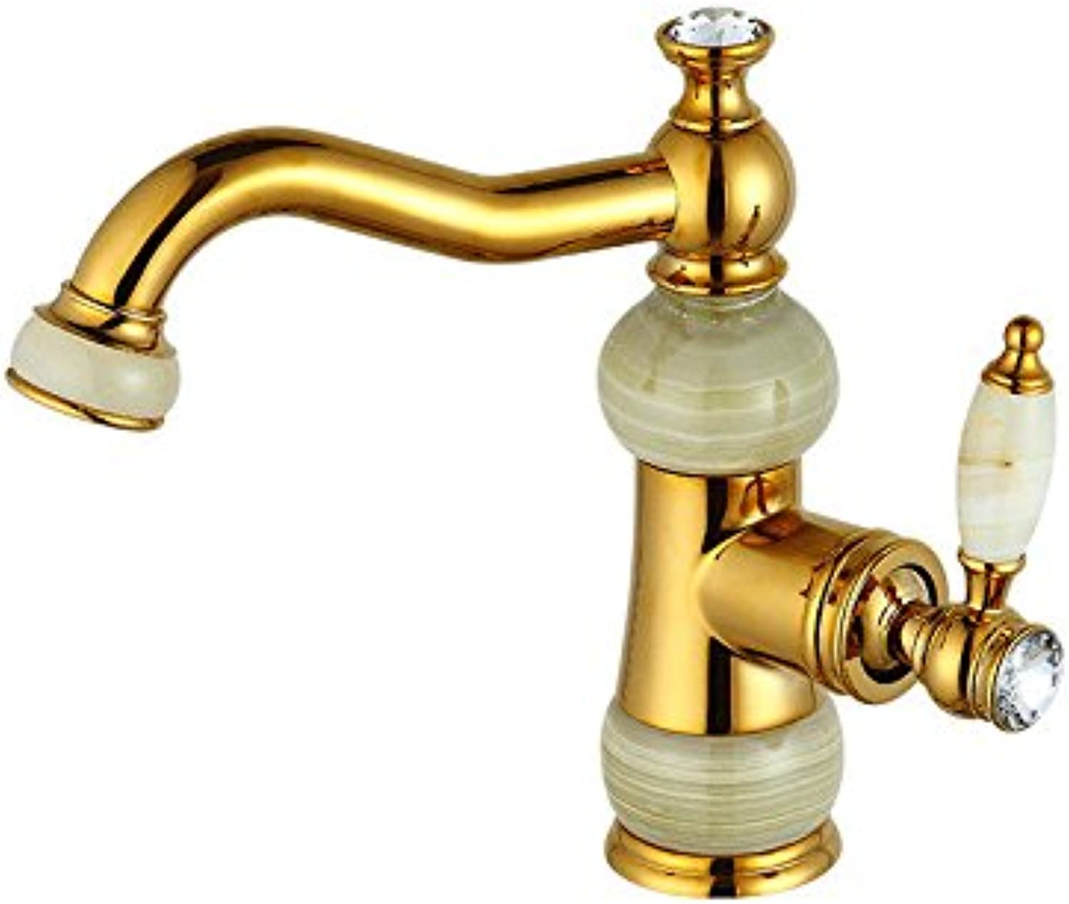 AQMMi Basin Taps Bathroom Sink Faucet pink gold Jade Hot and Cold Water Brass Bathroom Sink Faucet Basin Mixer Tap