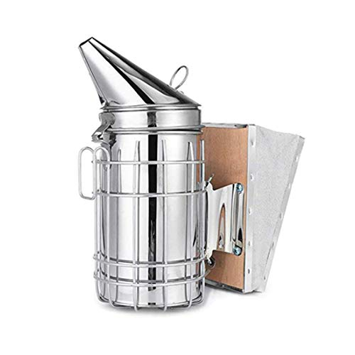 LIBANTY Beekeeping Equipment,Bee Hive Smoker, Heavy Duty Stainless Steel Large Size, Superior Airflow Bellow and Excellent Smoke Output for Beekeeping Farm & Ranch Stainless Steel Bee Smoker