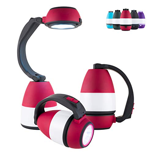 Enbrighten Red 3 in 1 LED Combo Lantern, Single-Pack, Flashlight, Task Light, Battery Operated, 200 Lumens, High/Low/Off, Table Lamp, Desk, Camping, Emergency, Storm, 49539