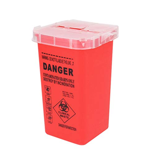 EXCEART Pequena Disposição Farelos Recipiente: Flip Top Caixa 2Pcs Biohazard Sharps Recipiente De Descarte de Agulhas Agulhas de Tatuagem Suprimentos Cesta de Lixo Bin para Diabéticos