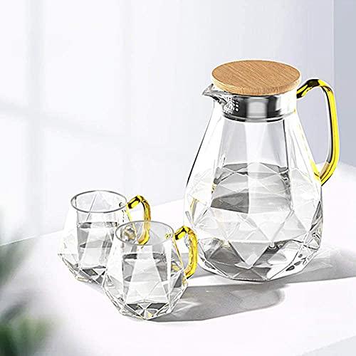 YWTT Jarra de Agua de Vidrio con Tapa, Jarra Cubierta con Forma de Diamante, Jarra de Jugo para Bebidas caseras/té Helado/Leche/café/Servir Vino/Cerveza (Jarra con Vasos, 1500 ml)