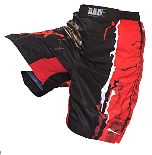 2Fit Your Fitness Partner RAD MMA Fight Shorts Grappling Short UFC Kick Boxing Gabbia Combattimento Arti Marziali Muay Thai Kickboxing Pantaloncini, Rosso, M