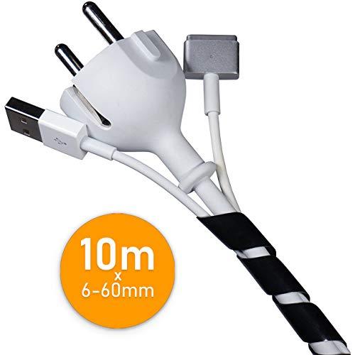 Flexowire Kabelspirale Spiralkabelschlauch 10 m 6-60 mm schwarz Kabelschlauch mit flexibler Bündelweite zum Bündeln von Kabeln z.B. am Computer, TV, HiFi-Anlage