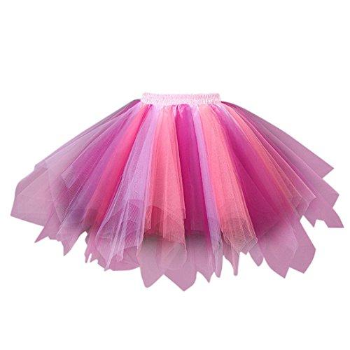 TUDUZ Damen Hochwertige Plissee Gaze Farben Kurzen Rock Erwachsenen Tutu Tanzen Rock Abendkleid Karneval Fasching Tanzkleid (Mehrfarbig-E)