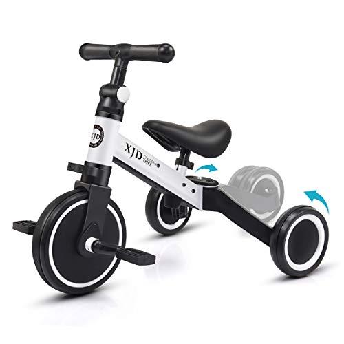 XJD 3 EN 1 Triciclo para Niños Bicicleta para bebé 1-3 años con Pedales Desmontables Asiento Elevador para Ajustar Alturas Regalo de cumpleaños(Blanco)
