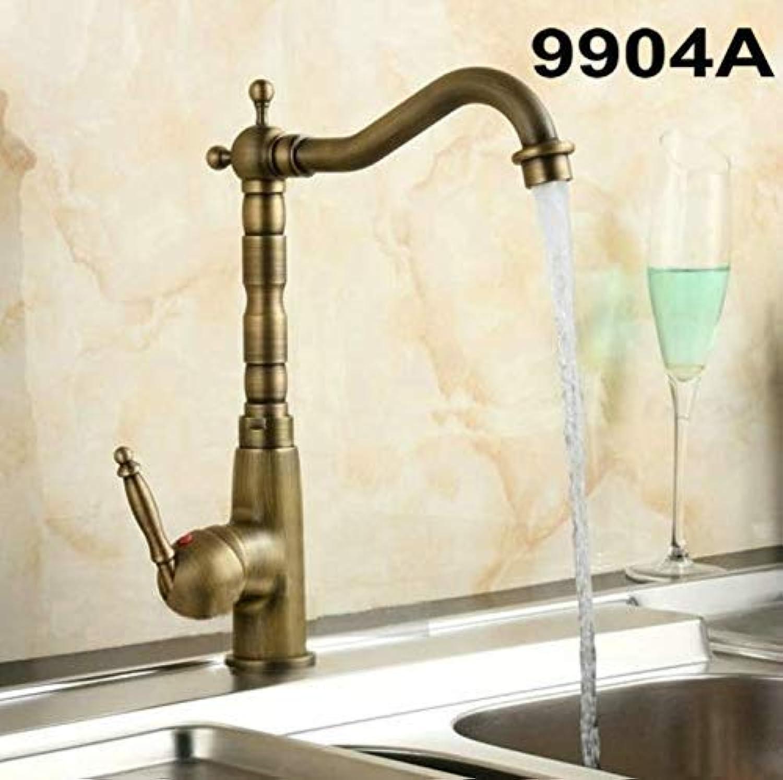 Willsego Wasserhahn Küche schwenkbar Messing Armaturen Bad Wasserhahn Waschtischmischer Antik Messing & Gold 9904 (Farbe   -, Gre   -)