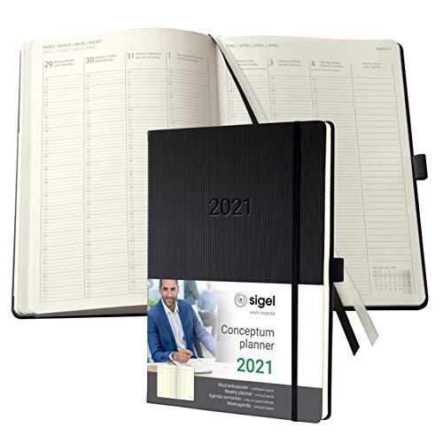SIGEL C2118 Planungsbuch, Terminplaner Wochenkalender 2021, A4+, 1 Woche = 2 Seiten, 1 Spalte pro Tag, schwarz, Hardcover, mit vielen Extras, Conceptum – weitere Modelle
