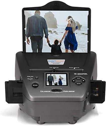 High Resolution 16MP Film Scanner All-in-One, with 2.4' LCD Screen, Converts 35mm/135 Slides &Negatives Film Scanner Photo, Name Card, Slides and Negatives for Saving Films to Digital Files