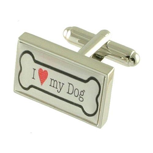 Animal OS de chien Boutons de manchette – I Love My Dog Argent sterling 925 Boutons de manchette + Boîte de message