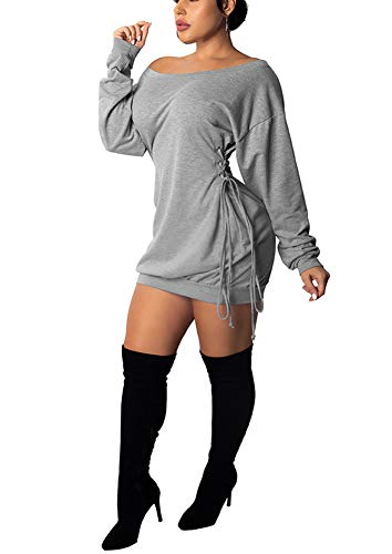 Women Long Sweatshirt Dress - Off The Shoulder Tunic Top Oversized Loose Fit T Shirt Mini Dress Grey XXL