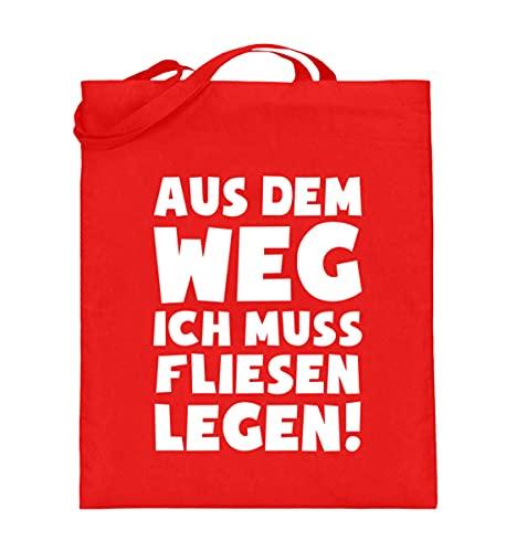 shirt-o-magic Fliesenleger: Muss Fliesen legen! - Jutebeutel (mit langen Henkeln) -38cm-42cm-Rubin Red