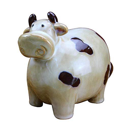 GEZHU Estatua de la Escultura Escultura de cerámica Animal de la Vaca Vaca Crafts Coin Hucha Hucha Regalo de cumpleaños Práctica Hucha Decorativa.