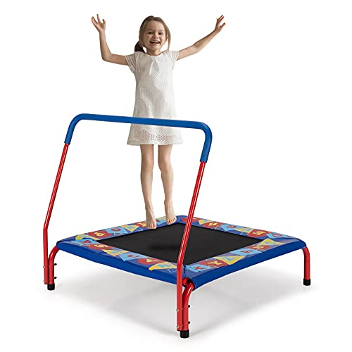 COSTWAY Mini Trampoline, Kids Exercise Rebounder with Foam Handrail and Safety Padded Cover, Toddler Square Trampolines for Indoor Outdoor (36 Inch)