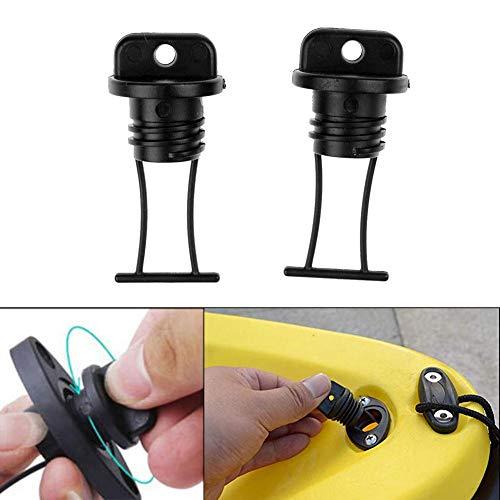 4PCS Tapones de drenaje de rosca de casco universal Accesorios de kayak Tapones de drenaje de plástico para botes Tapones, Kit de tapón de drenaje de casco de plástico negro Piezas de repuesto