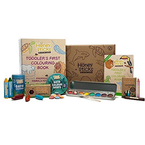 Honeysticks Ultimate Activity Pack - With Non Toxic Art Supplies (Pure Beeswax Crayons, Watercolor Paints, Coloring Book) & Bath Products (Beeswax Bath Crayons, Bath Color Tablets), Gifts for Toddlers